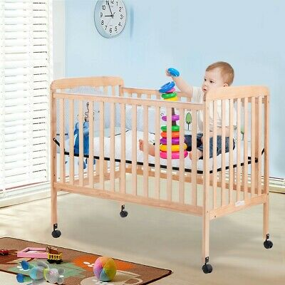 Convertible Baby Toddler Sleep Bed Kids Pine Wood Bedroom Furniture Safety Rails