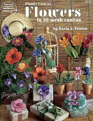 Flowers in 10-Mesh ~ 15 Lovely Florals plastic canvas pattern booklet