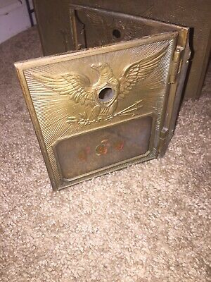 Vintage Antique Bass US Post Office Mail Box Door & Box  EARLY WAR EAGLE rare