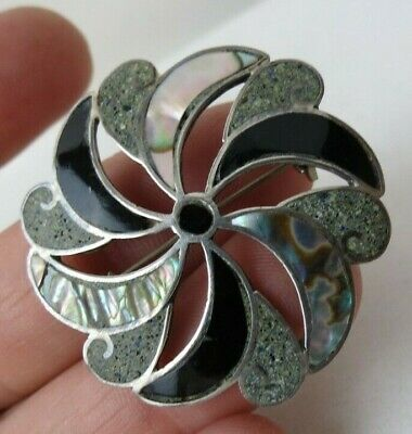 Vintage Mexican Sterling Silver Abalone Onyx Pinwheel Pin Pendant Combination