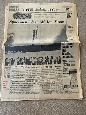 Man On The Moon The Age  Complete Newspaper Melbourne Thursday 17 July 1969