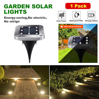 8LED Garden Solar Disk Lights Ground Buried Lawn Post Path Outdoor Waterproof US