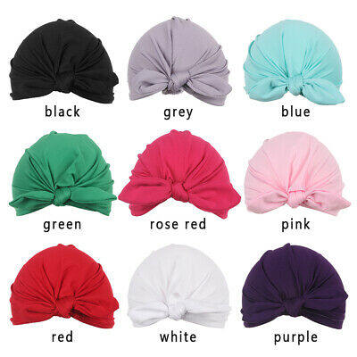 Toddler Kids Baby Boy Girl Turban Cap Cotton Bow knot Candy Warm Beanie Hat