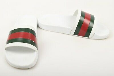b90d9c873 Gucci Pursuit 72 white multi 10 signature stripe slide UK9 sandal shoe $210