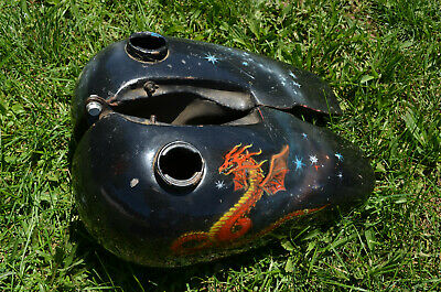 RARE VINTAGE HARLEY Davidson Panhead Motorcycle Gas Tanks Custom Paint Job