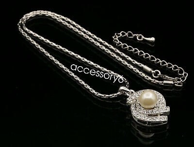 Girl Birthday gift white pearl beads crystal pendant silver plated necklace U32