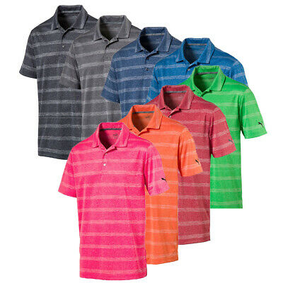 NEW Mens 2018 Puma Golf Shirt Pounce Stripe Polo Cresting - Choose Size & Color!
