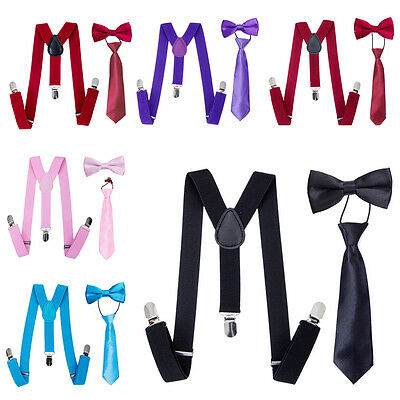 Adjustable Baby Kids Suspender and Bow Tie Set Tuxedo Wedding Shirt Suit Party