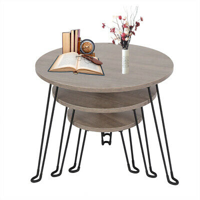 Set Of 3 Wood Coffee Table Nest Retro Industrial Side End Round Desk Furniture