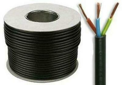 3183Y 1.5mm 2.5mm Electrical Cable Black Round Mains Wire Flex 3 Core UK