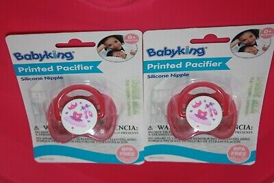Lot/2 Baby King Printed Pacifier Soft Silicone Pink/Ballerina Bk37000 O+Months