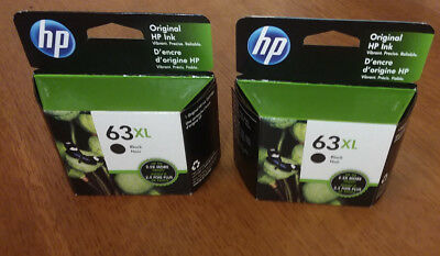 Lot of 2 HP Genuine 63XL Black Cartridge Factory Sealed Retail Box NIB EXP 2021