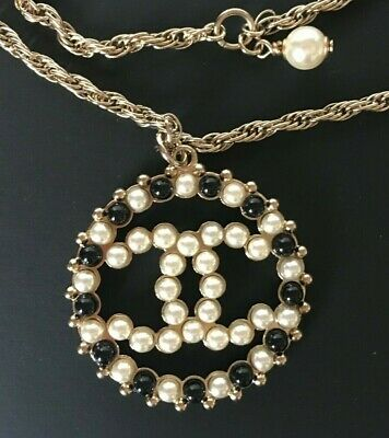 Chanel Cc Logo White/Black Pearls Round Pendant Gold Chain Necklace  Nwtb