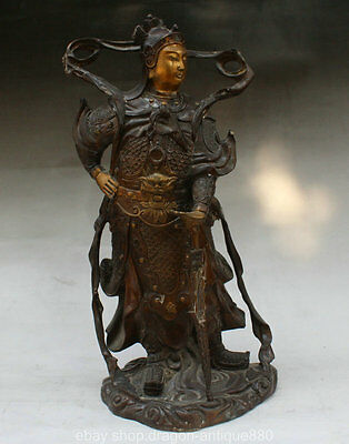 38cm Chinese Temple Bronze Gilt Stand Wei Tuo Knight God Bodhisattva statuary