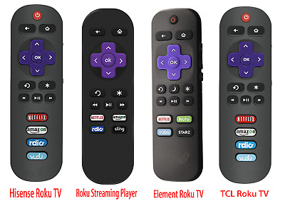 Remote for Hisense Roku TV, TCL Roku TV, Roku Streaming Player, Element Roku TV