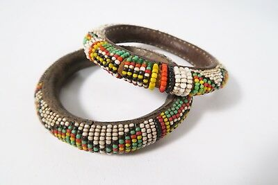 2 Alter Lederreife mit Glasperlen leather bracelets with beads Dogon MaliAfrozip