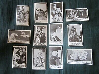 """Monster Laffs Midgees"" 12 Original 1963 Horror & Sci-Fi Trading Cards By Topps"