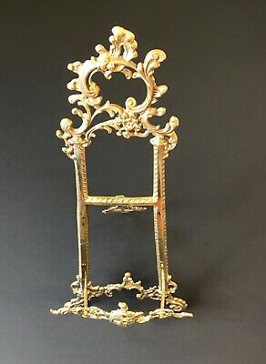 LARGE ORNATE BRASS PICTURE/PLATE/ART STANDS/EASEL ROCOCO STYLE NEW 53cm HIGHT