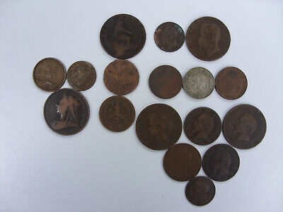 17 x 19th Century Coins and Tokens France, Britain, Italy and more