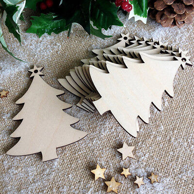 10pcs Wooden Christmas Tree Decorations Craft Hanging Bauble Blank Shapes