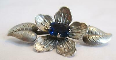 FABULOUS ANTIQUE SILVER BROOCH,FLOWER with LARGE BLUE STONE CENTRE 7.8g ART DECO