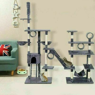 Deluxe Large Cat Tree Multilevel Activity Tower Condo W/ Hammock Scratching Pole