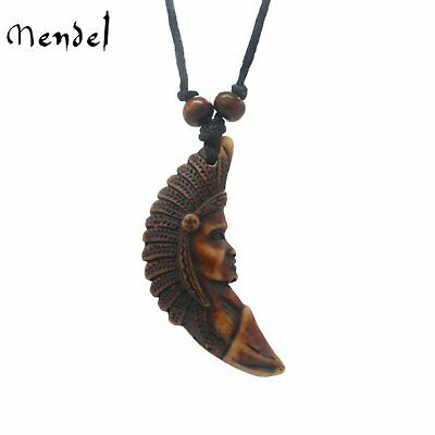 MENDEL Vintage Mens Native American Indian Chief Artifact Bone Pendant Necklace