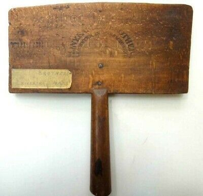 1800s antique PLINY EARLE BROS leicester ma WOOD BRUSH wool comb card