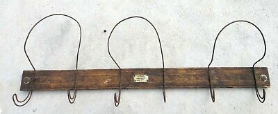 """antique victorian 32""""  HAT COAT WOOD/WIRE HOOK WALL RACK signed COBURN ATHOL MA"""