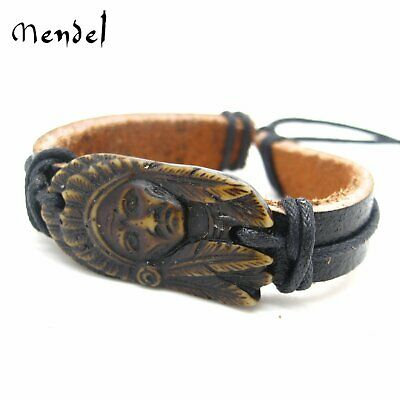 MENDEL Mens Native American Indian Chief Genuine Leather Bracelet Cuff Wristband