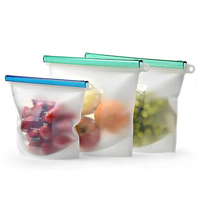 1000ML Reusable Silicone Food Sealing Storage Bag Zip Top Fresh Bags Containers