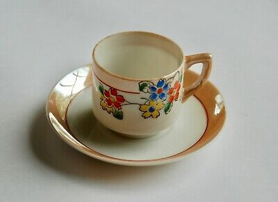 Vintage Miniature Tea Cup and Saucer Lusterware Made in Occupied Japan