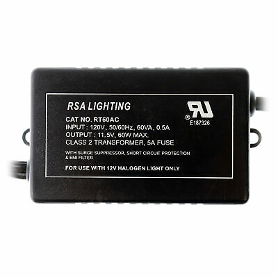 Rsa Lighting Rt60Ac Electronic Transformer W/ Surge, 120Vac To 12Vac, 60-Watt