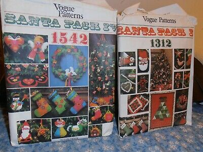 SANTA PACK VINTAGE PATCHWORK CHRISTMAS DECORATIONS - Vogue 1312 and 1542