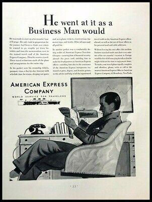 1931 AMEX American Express Vintage Advertisement Print Art Ad Poster LG82
