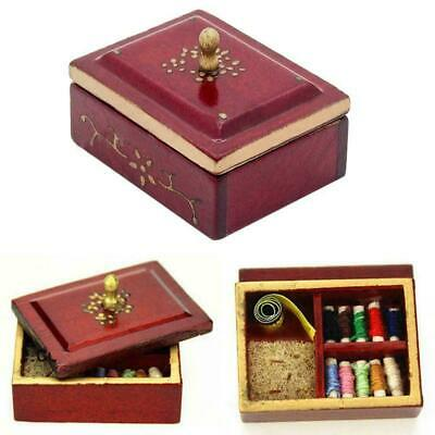 1/12 Sewing box miniature Scale quality For dollhouse wood miniature J9C2