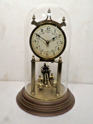 Vintage 400 Day German Table Clock--Porcelain Dial--Dome Included