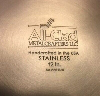 "All-Clad Tri-ply Stainless Steel 12"" Nonstick Fry Pan 4112 NS R2 New-Floor Model"