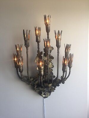 Brutalist Hollywood Feldman Tom Greene 12 Light Sconce Lamp Wall Antique Light