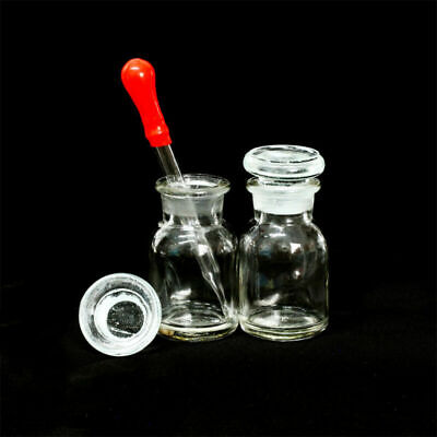 30ml Lab Reagent Bottle Wide Mouth Ground Glass Stopper Transparent w/ Dropper