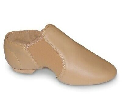 Quality Jazz Shoes Soft Leather Slip on Leather Upper (Tan) plus Dark Tan Tights