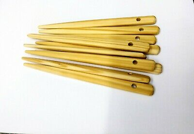 6 Inch Pack of 10 wooden weaving, knitting needles.