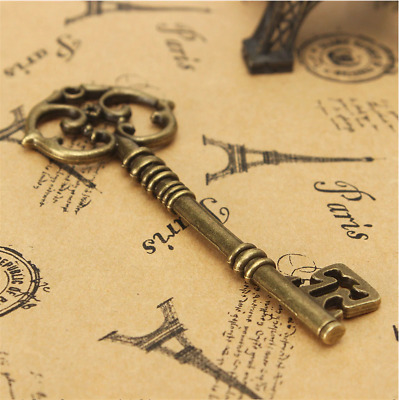 kiWarm 1 pc Vintage Antique old style Look Bronze  Key Bow For Making Pendant