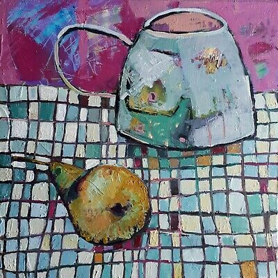 Pear and a pot oil painting on canvas 20x20cm