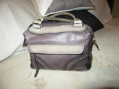 Hispanitas Leather handbag Gorgeous colours taupe black grey Ex con DUST BAG
