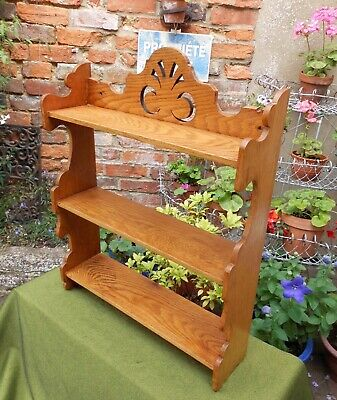 Lovely Edwardian Golden Oak Three-Shelf Bookcase~Display~Wall Or Freestanding