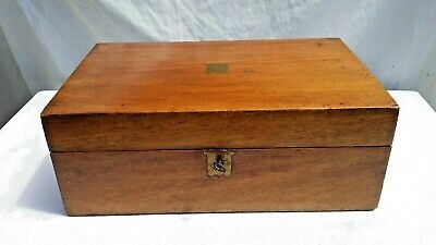 Vintage Antique Writing Slope Box With Key 35.5 X 22, 13 Cm High.