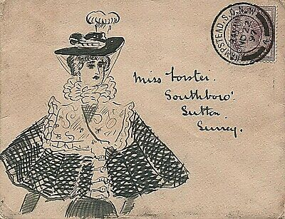 1897 illustrated envelope from Hampstead to Sutton, Surrey