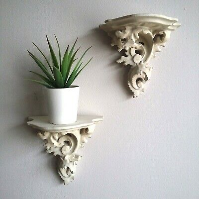 Pair Antique White Corbel, ornate SMALL wall display shelf  shabby chic