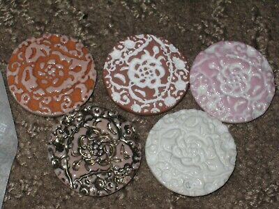 Chanel5 Ceramic  Buttons  28 Mm / Over 1'' New Lot 5 No Cc Logo Mixed Colors